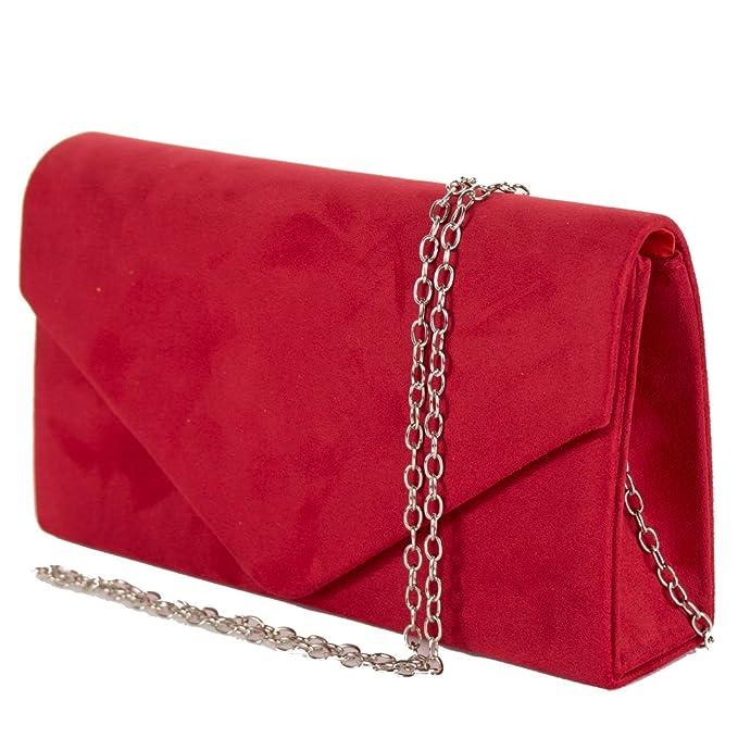 65181e0259 Emila Pochette rossa donna elegante da cerimonia scamosciata Borsa a mano  piccola Clutch per matrimonio rossa Borsetta da sera giorno: Amazon.it: ...