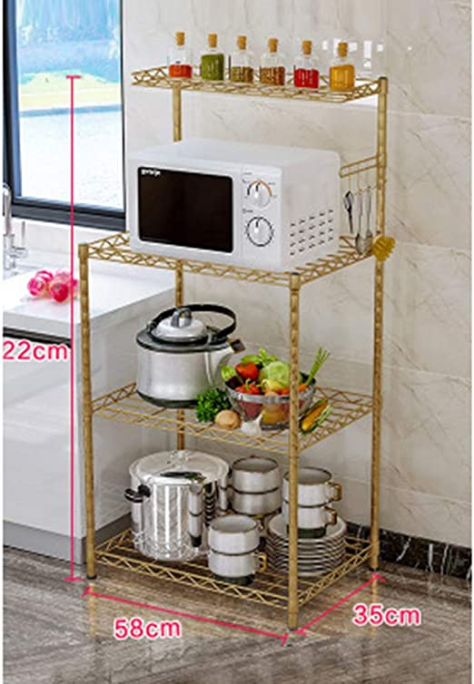 Amazon Com Yrra 4 Tier Countertop Spice Racks Cabinet Shelf Kitchen Counter Rack Organizer For Upper Kitchen Cabinets And Pantry Closets Gold Kitchen Shelf Home Kitchen