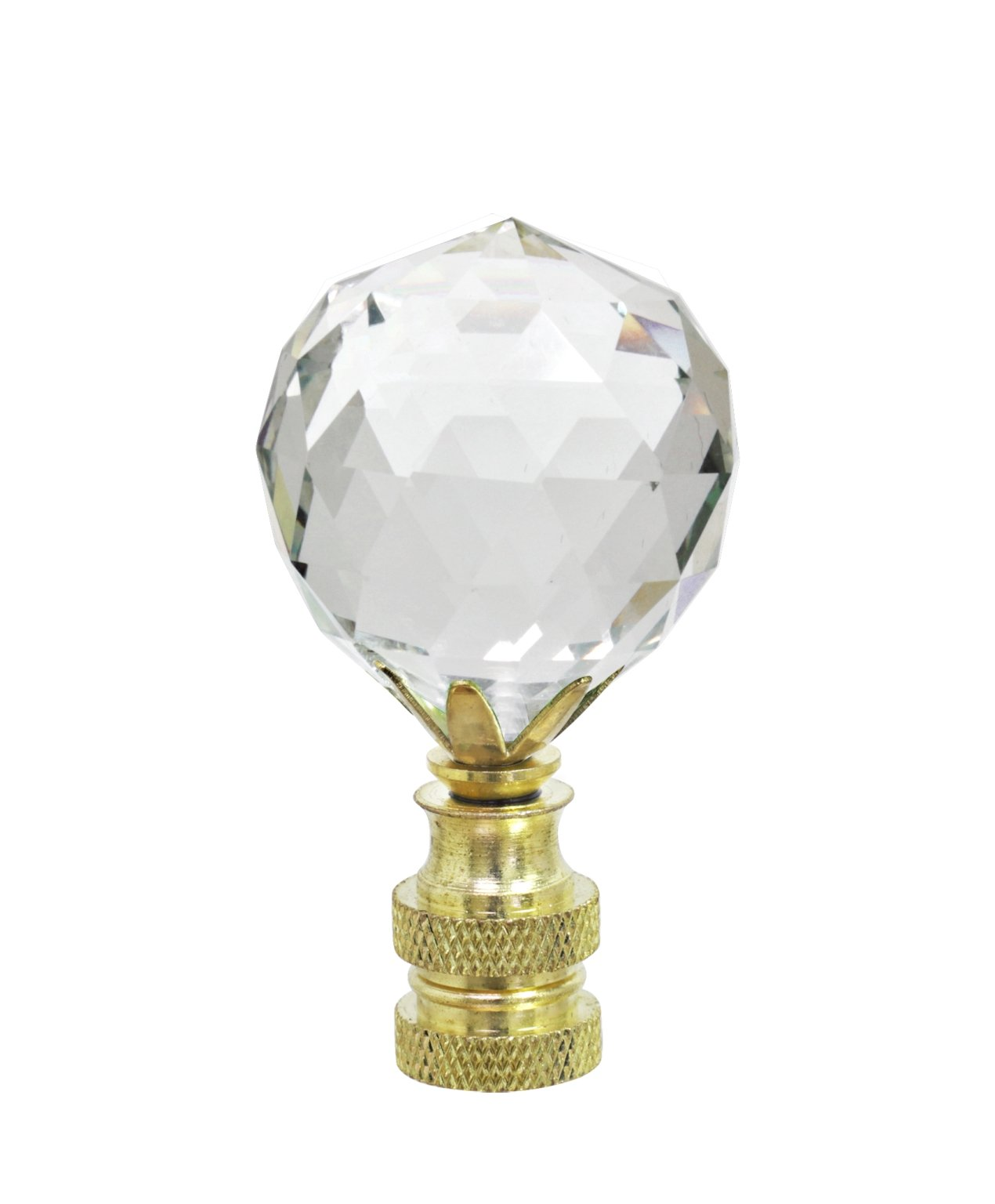 Aspen Creative 24007-11 Faceted Crystal Lamp Finial in Brass Plated Finish, 2 1/4 Tall (1), 1 PACK, Clear