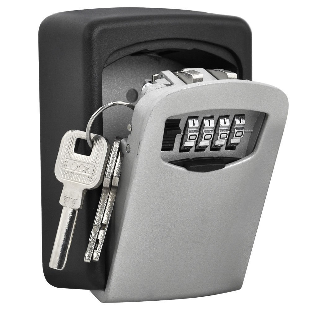 Key Lock Box 4 Digit Combination Lock Boxes for Keys Wall Mounted Weather Resistant Secure Box Keys Holder for Home use with Exterior Waterproof Cover and Mounting Kit Key Storage