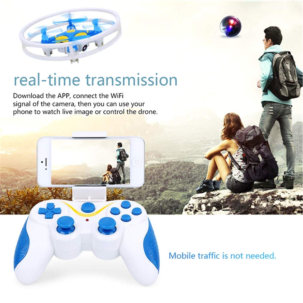 LSQR Mini Drone con cámara HD Profesional Selfie RC Quadcopter 0.3MP FPV Nano WiFi Control Drones,Blue