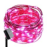 ER CHEN(TM) Solar Powered 33ft Copper Wire string light,100led Fairy Starry Lights with Solar Panel for Outdoor Christmas Tree Thanksgiving Decoration Festival Wedding Party Garden Landscape(Pink)