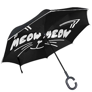 ALAZA gato blanco Sketch de gato ojos de negro paraguas invertido doble capa resistente al viento