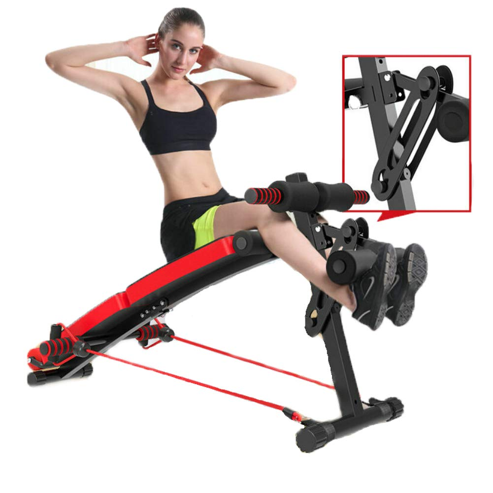 調節可能な腹部ベンチ 調節可能なウェイトベンチ、多機能腹筋ボード折りたたみ式プルロープ  Red B07PPTB7JJ