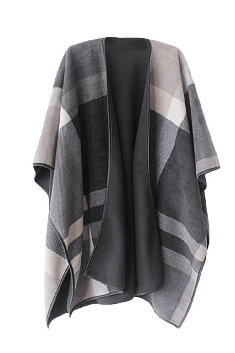 VamJump Women Winter Cashmere Oversized Blanket Poncho Cape Shawl Cardigan Coat, Grey,onesize