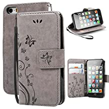 iPhone 5S Case,iPhone SE Case, Korecase Premiun Wallet Leather Credit Card Holder Butterfly Flower Pattern Flip Stand Case for Apple iPhone 5 5S SE With a Wrist Strap - Gray