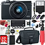 Beach Camera Canon EOS M100 24.2MP Mirrorless Digital Camera with EF-M 15-45mm IS STM Lens (Black) + 32GB Accessory Bundle