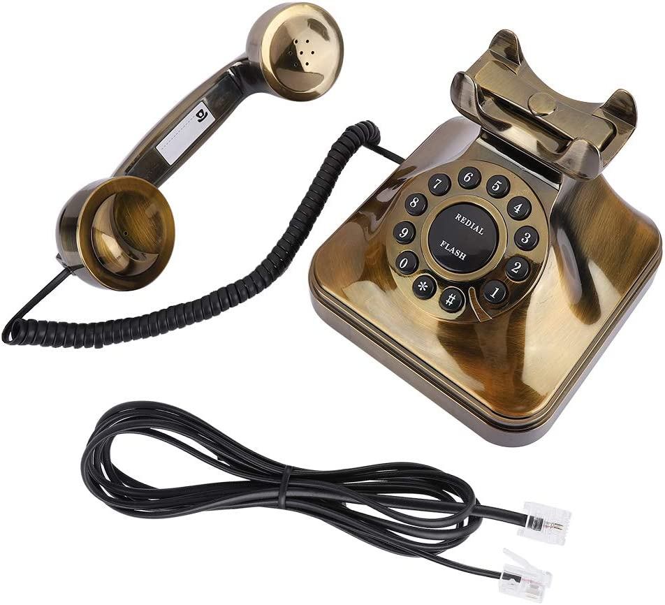 Vintage Telephone Landline Flash Redial Function,Bronze Antique Retro Office Desktop Wired Phone Landline with Noise Reduction/Number Store,Old Fashioned Home Decor Classical Telephones