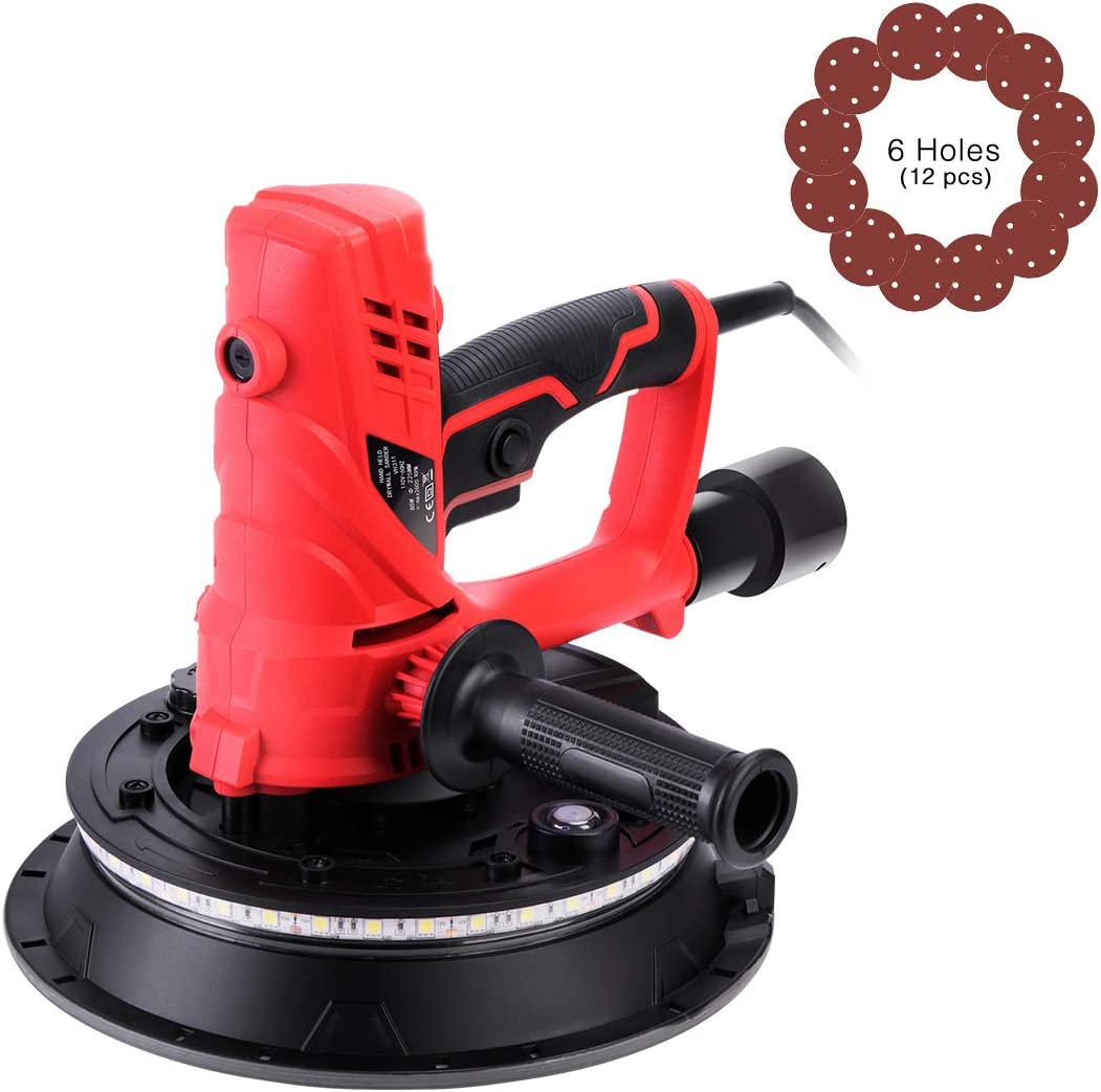 VIVOHOME 850W Electric Adjustable Variable Speed Drywall Sander Machine with Automatic Vacuum System LED Light and Dust Bag