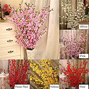 Pannow 5Pcs Spring Peach Blossom Cherry Plum Bouquet Branch Silk Flower,Artificial Flowers Fake Flower for Wedding Home Office Party Hotel Yard Decoration 2