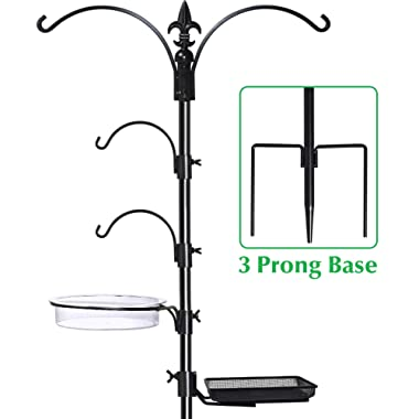Gray Bunny GB-6844 Premium Bird Feeding Station Kit, 22  Wide x 91  Tall (82 inch Above Ground) Black, A Multi Feeder Hanging Kit & Bird Bath for Attracting Wild Birds, Birdfeeder and Planter Hanger