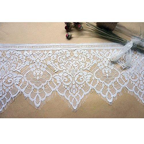 (3 Meters White Eyelash Edge Lace Trim Ribbon for Bridal Shawl Lace top Dresses)