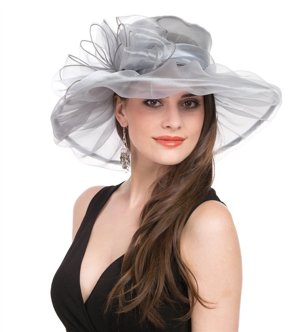 Saferin Lady Church Dress Hat Chic Organza Wedding Wide Brim Hat Grey with Bowknot