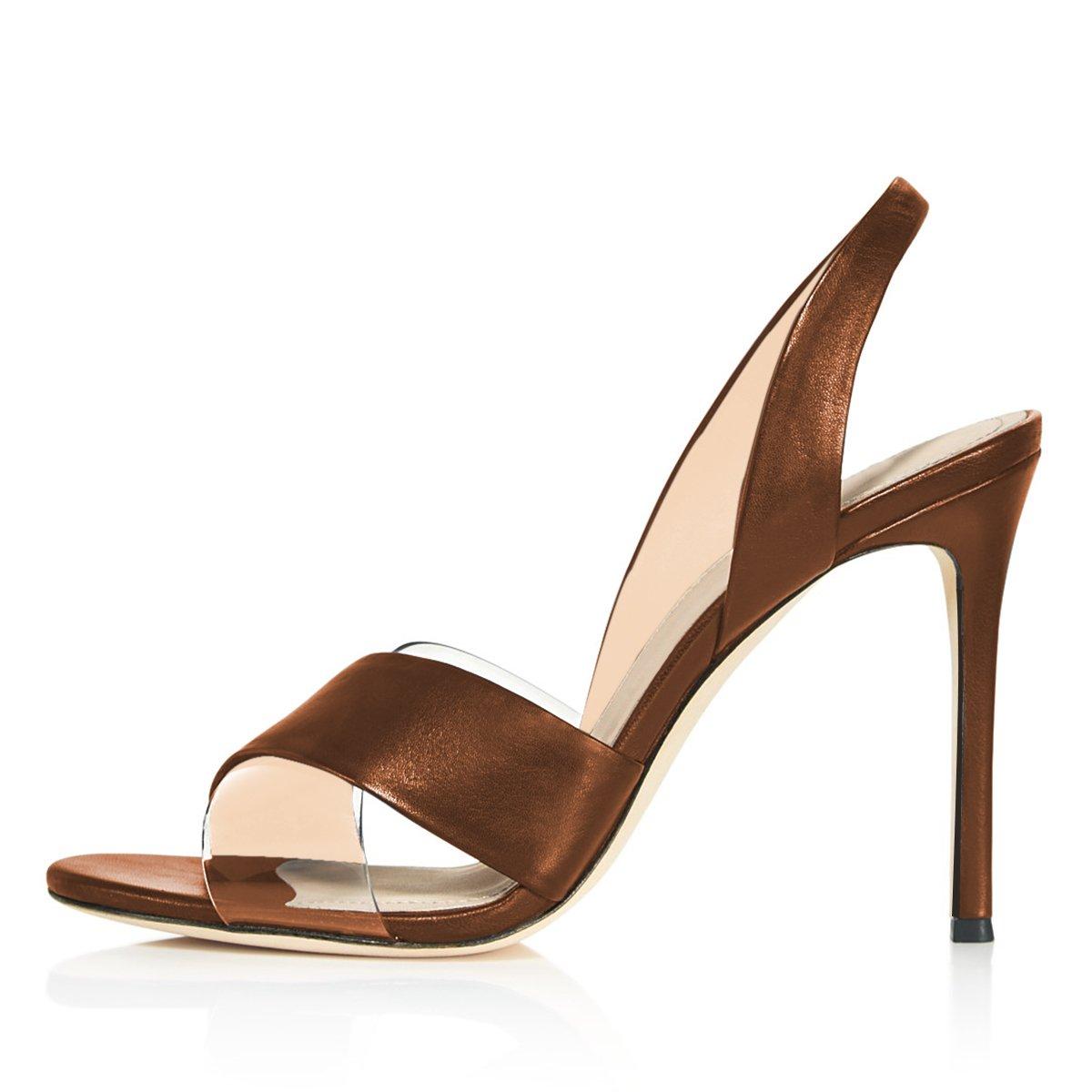 YDN Women Peep Toe High Heel Slingback Sandals Slip on Stilettos Pumps Transparent Dress Shoes