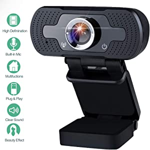 Innoo Tech 1080P HD Webcam with Microphon, Streaming Computer Web Camera for Desktop/Laptop/PC, Plug and Play USB Webcam for Live Broadcast Video Meeting (Black)