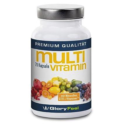 Cápsulas multivitamínicas, Multivitamina A-Z + Complejo Multimineral + Q10 - 70 cápsulas veganas Multivitamina concentrada