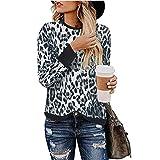 Women Long Sleeve Blouses Round Neck Leopard
