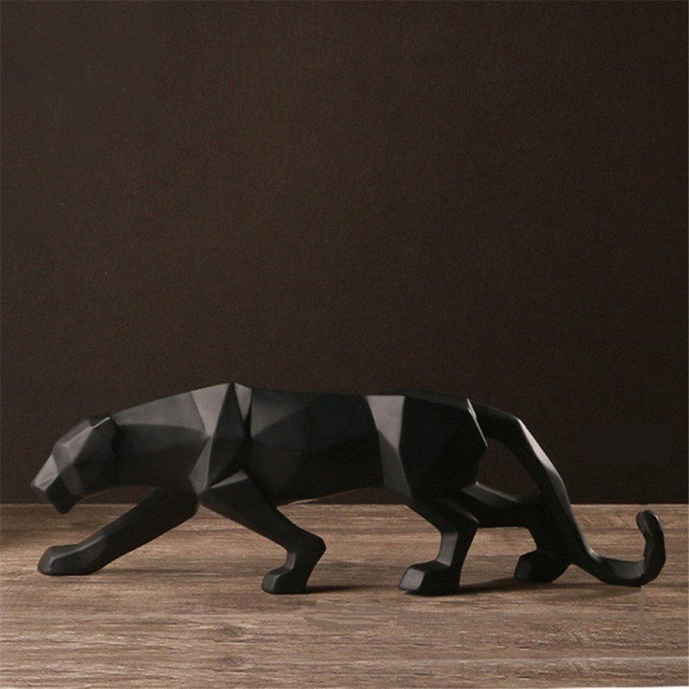 Abstract Black Panther Sculpture Figurine Handicraft Home Desk Decor Geometric Resin Wildlife Leopard Statue Craft