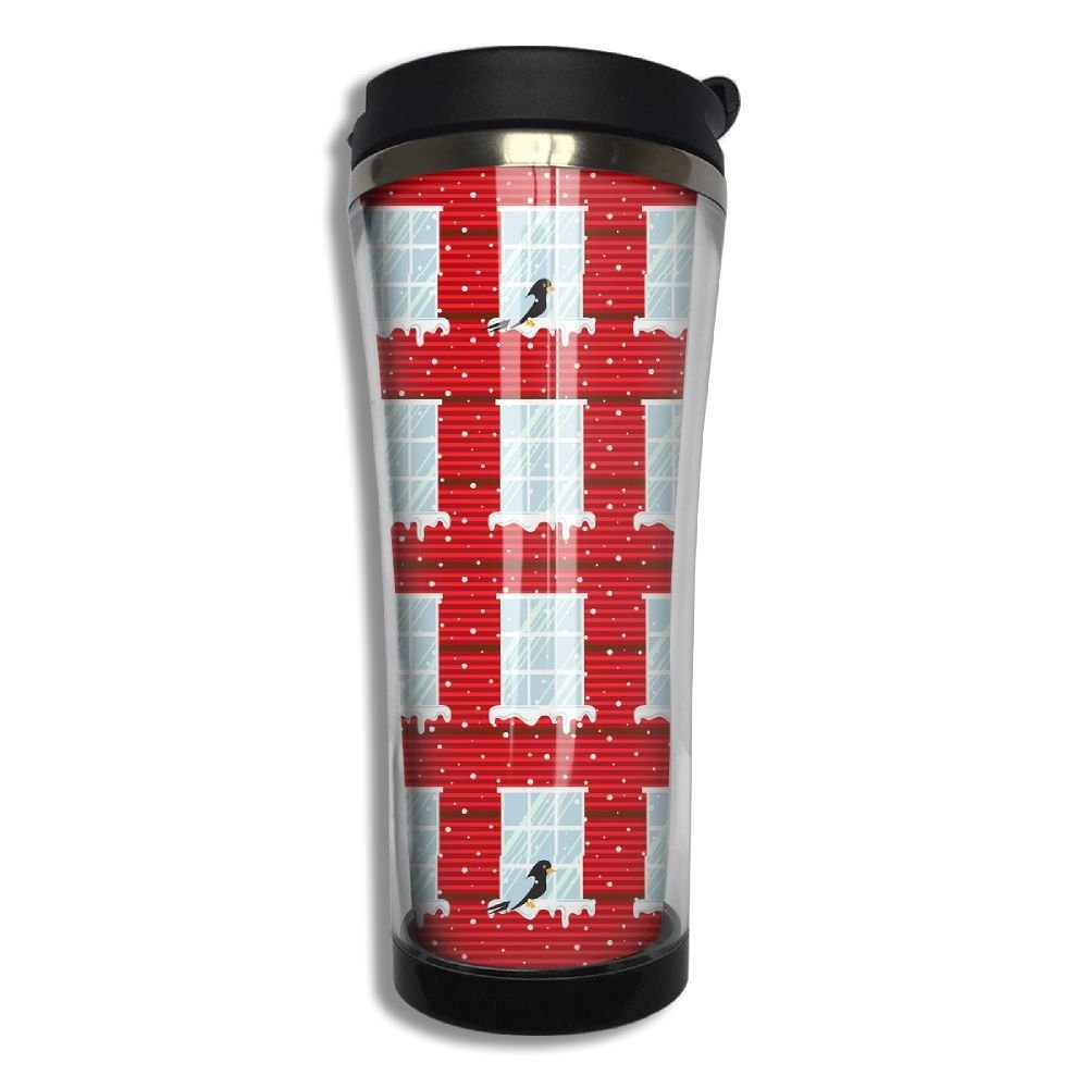 Stainless Steel Travel Mug Red Wall Windows Coffee Cup Tumbler With Lid 14.3 Oz