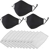3Pcs Negro 𝐌𝐚𝐬𝐜𝐚𝐫𝐢𝐥𝐥𝐚𝐬 reutilizable con 【10 Pcs】 Filtros de Carbón Activado,Fashion Protective,Usable en Interiores y…