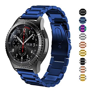 DEALELE Band Compatible para Gear S3 Frontier/Classic/Galaxy Watch 46mm, 22mm Metal Acero Inoxidable Correa de Repuesto para Mujer Hombre, Azul