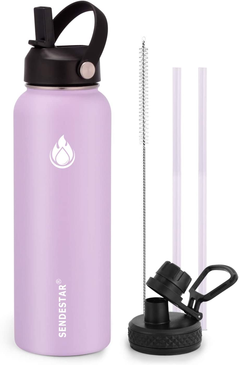 SENDESTAR Water Bottle 32oz Double Wall Vacuum Insulated Leak Proof Stainless Steel Sports Water Bottle—Wide Mouth with New Flex Straw Lid & Spout Lid (lilac)