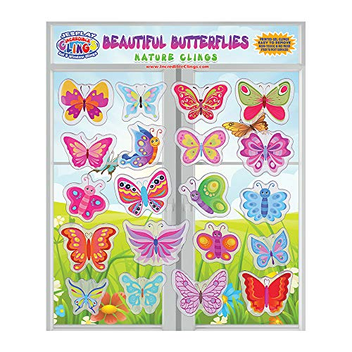 Beautiful Butterflies Thick Gel Clings – Reusable Glass Window Clings for Kids, Toddlers and Adults - Removable Incredible Gel Decals of Butterflies and Flowers Home, Airplane, Classroom, Nursery