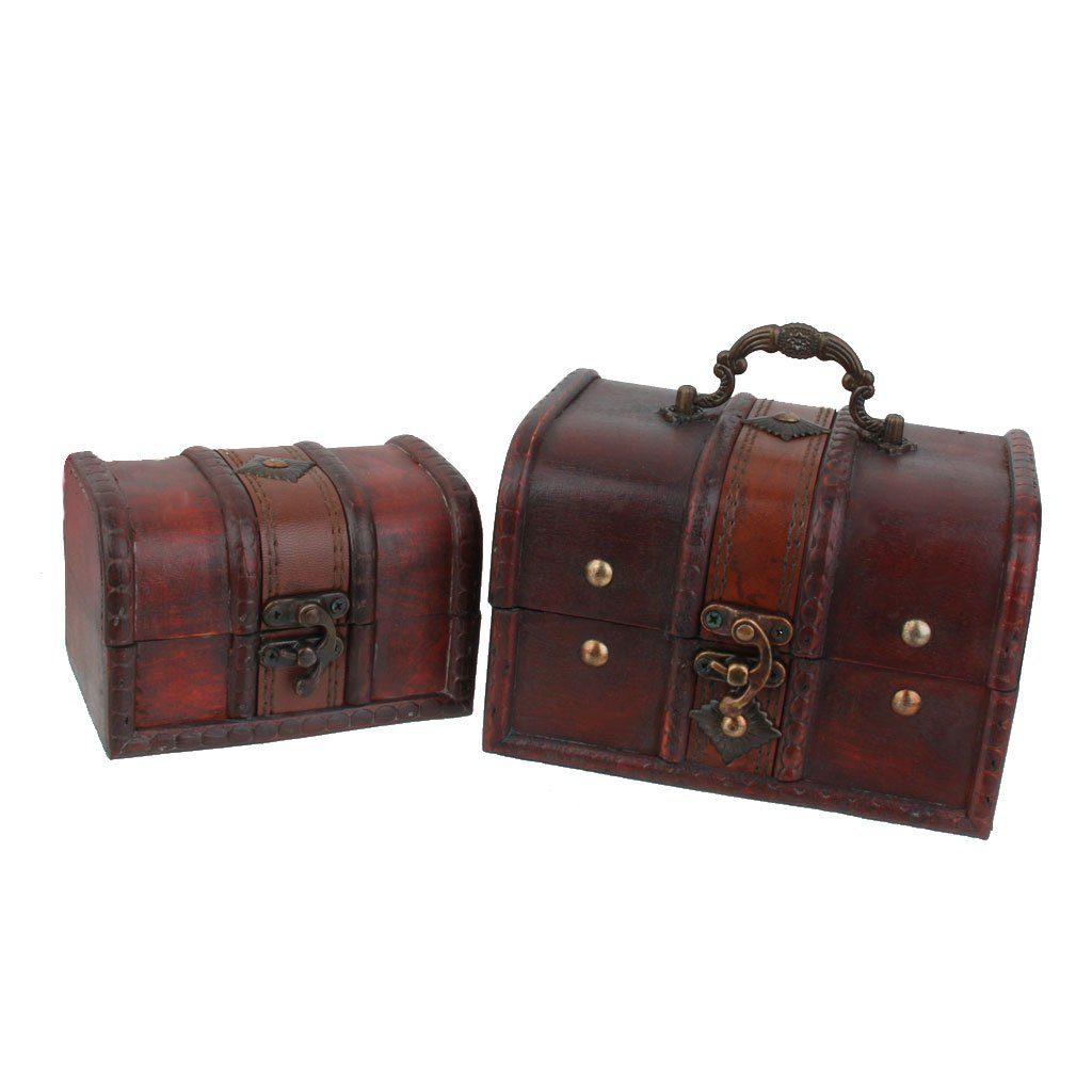 Baosity 2 Pieces Small Big Set Vintage Wooden Treasure Chest Necklace Bracelet Earrings Holder Storage Box