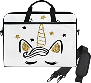 WIHVE 14 Inch Laptop Case Magic Cute Unicorn with Glitter Laptop Shoulder Bag Carrying Case with Strap for Women and Men
