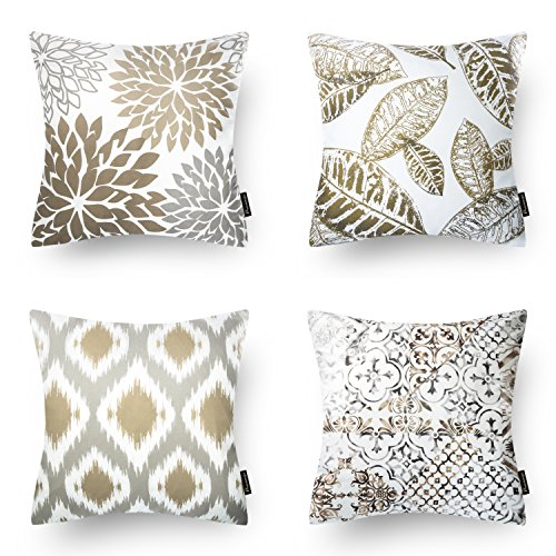 "Phantoscope New Living Series Coffee Color Decorative Throw Pillow Case Cushion Cover 18"" x 18\"" 45cm x 45cm Set of 4"