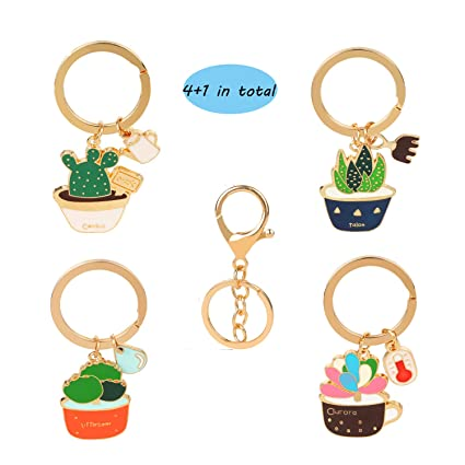 Amazon.com: (4 + 1) OOTSR Cactus Style Keychain with Keyring ...