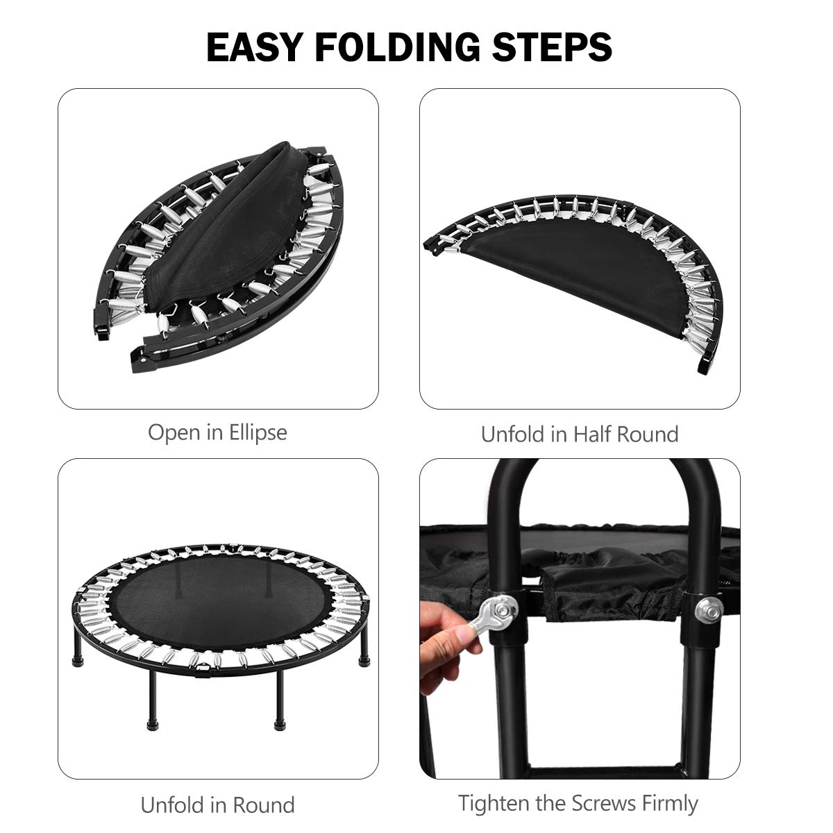 MOVTOTOP 48 40 Inch Indoor Trampoline, Folding Mini Trampoline with Adjustable Handrail and Safety Pad, Exercise Rebounder for Kids Adults-Black (40 Inch-Foldable) by MOVTOTOP (Image #5)