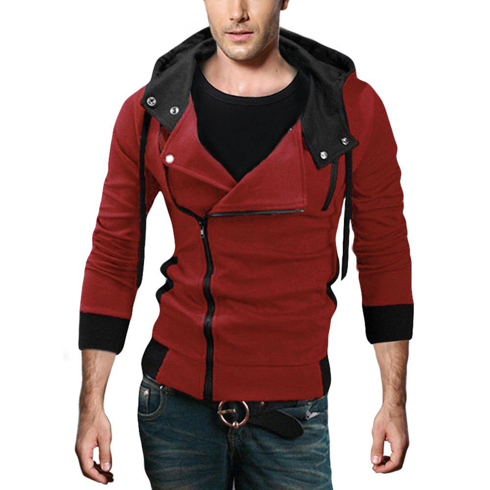 DJT Men's Oblique Zipper Hoodie Casual Top Coat Slim Fit Jacket Red M