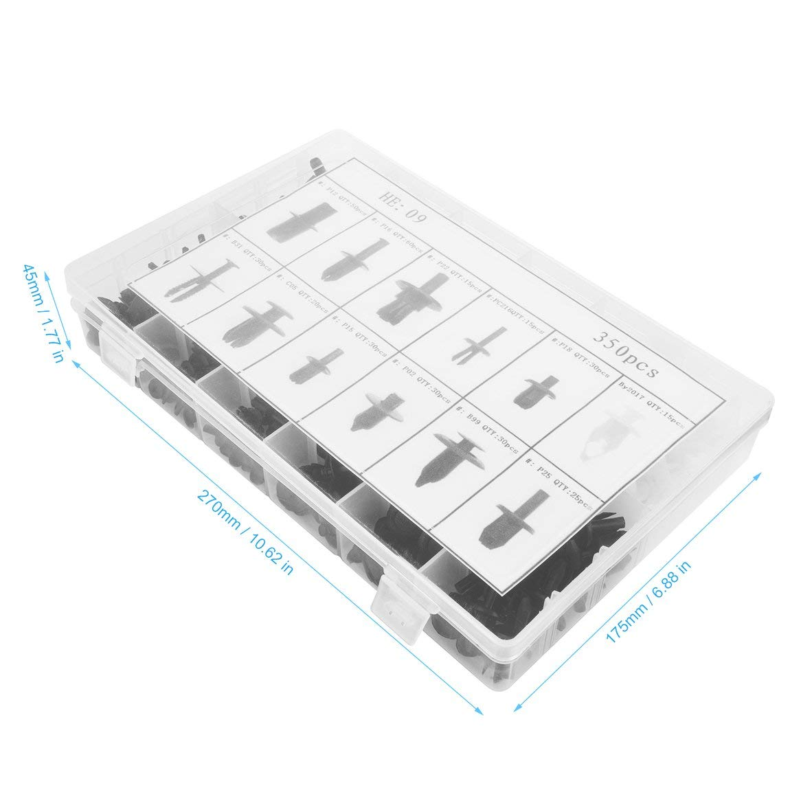350pcs auto voiture retenue retenue goupille rivet garniture pince corps de voiture attaches en plastique garniture panneau moulage clip assortiment kit couleur: noir//blanc