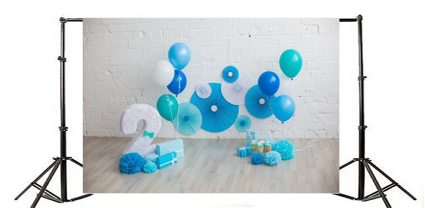 OFILA Baby Boy 2nd Birthday Backdrop 5x3ft Balloons Portraits Cake Smash Props Party Decoration Pinwheel Rosettes Family Shoots