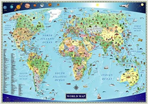 Illustrated Map of the World for Kids Children\'s World Map ...