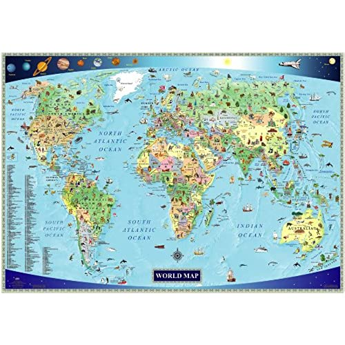 Illustrated Map Of The World For Kids Childrens
