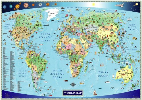 Illustrated Map of the World for Kids (Children's World Map) (Animals Of The World Map)