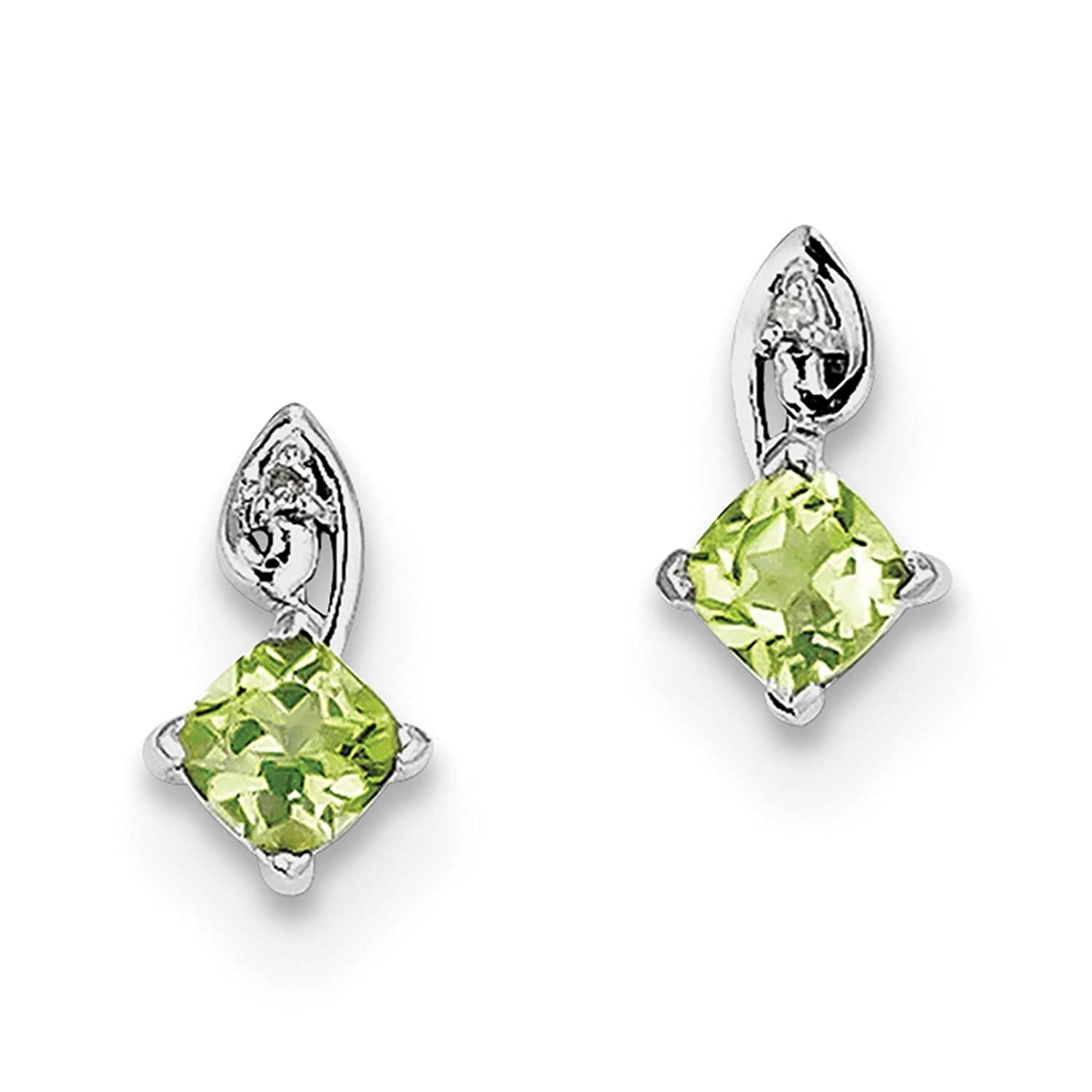 925 Sterling Silver Rhodium-plated Peridot /& Diamond Post Earrings