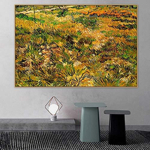 Tpqoaa Cuadro en Lienzo- de una Sola Pieza - Impresion en Lienzo - Vincent van Gogh viejo prado famoso del artista principal en el jardin los 60x90cm Adecuado para familias, escuelas, hoteles
