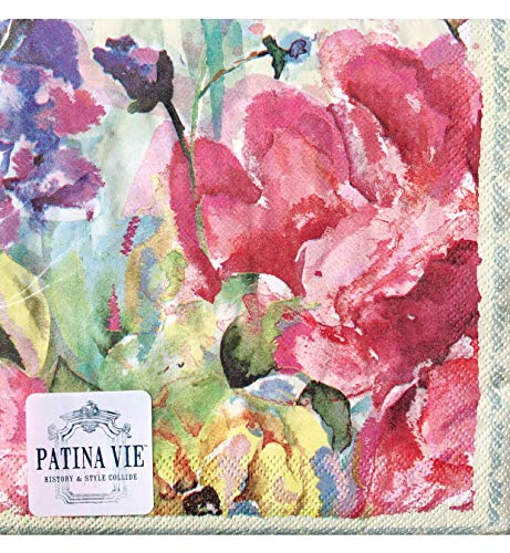 Patina Vie PV Floral Cream Paper Luncheon Napkins (0526), 36 ct ()