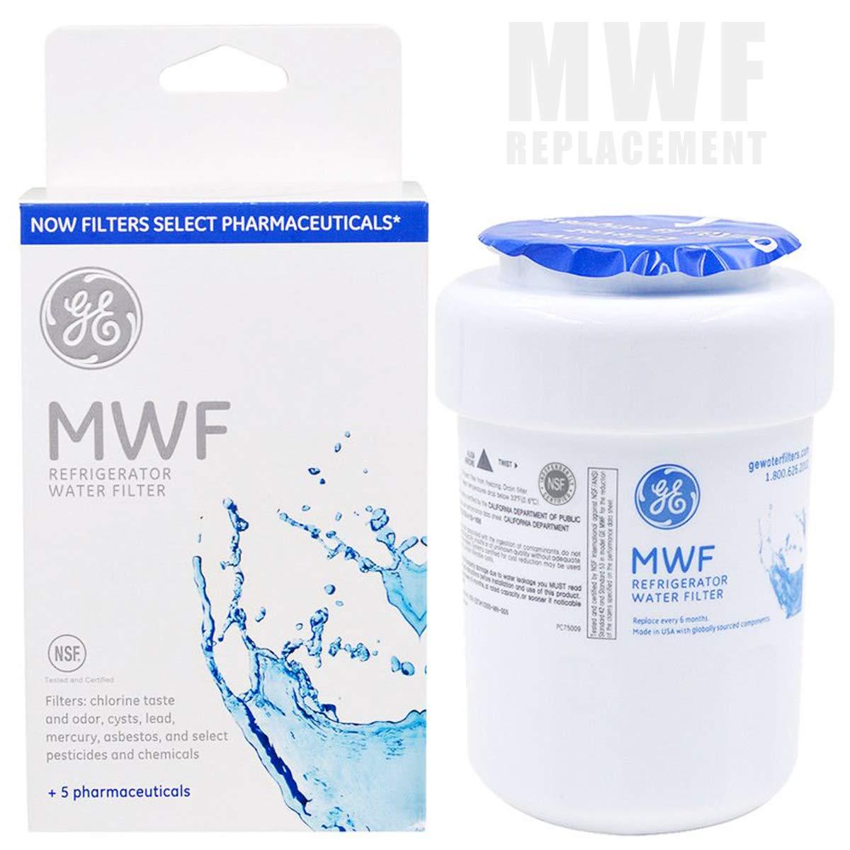 GE MWF Smart Refrigerator Water Filter Cartridge, ebulous Replacement Water Filter, 1-Pack