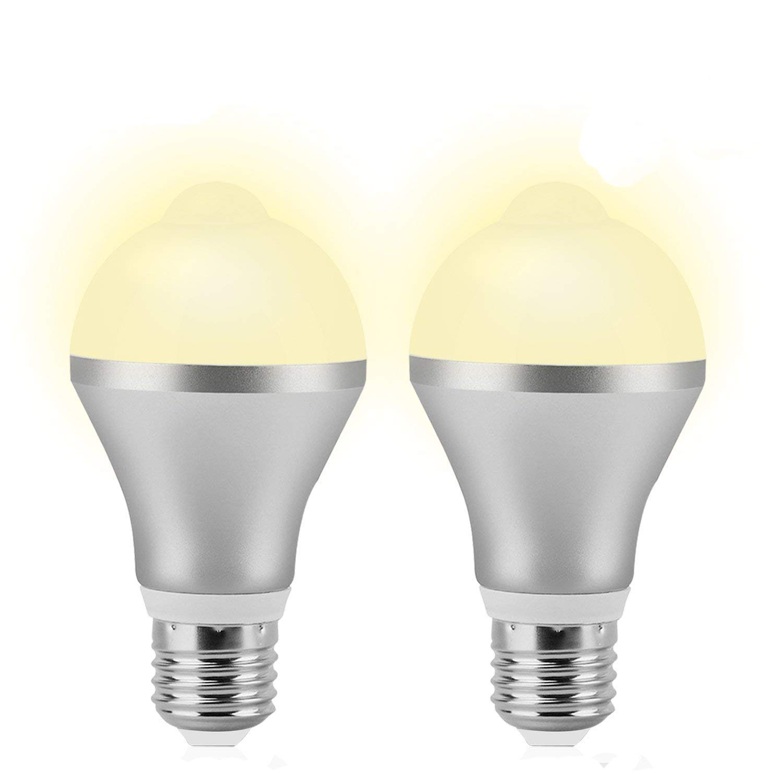 Motion Sensor Light Bulb, 9W E26 PIR LED Bulb Warm White (3000k) Motion Detector Auto On/Off Night Lights Indoor&Outdoor for Front Door Garage Carport Basement Corridor Hallway Stairs Attic(2 Pack)