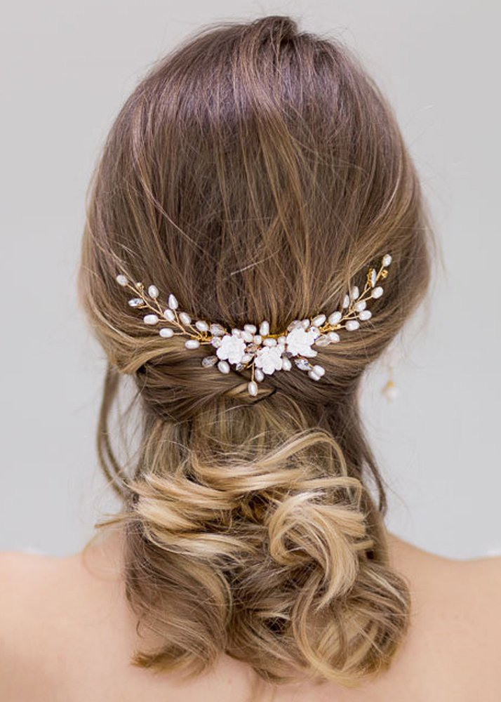 Kercisbeauty Wedding Bridal Bridesmaids Flower Girl White Flower and Freshwater Pearl Hair Side Comb Slide Bun Hair Accessory Head pieces(Rose Gold)