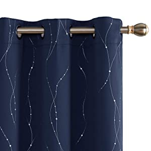 Deconovo Navy Blackout Curtains Grommet Top Drapes Line Printed Room Blackout Curtains for Dining Room 42 x 84 Inch Navy Blue 2 Panels