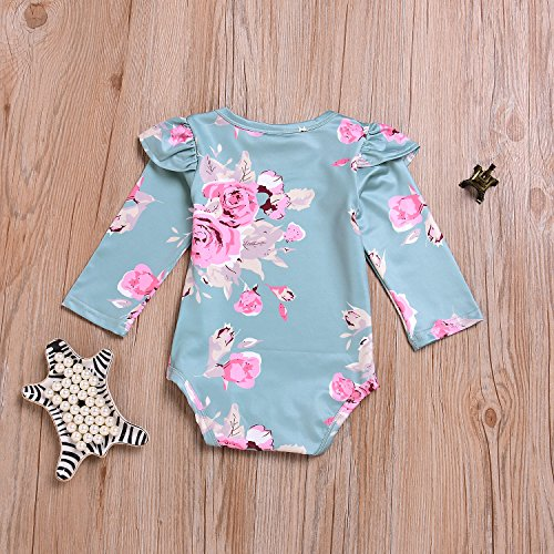 Mini honey Infant Baby Girl Romper Outfit Ruffle Floral Long Sleeve Jumpsuit Bodysuit Tops Clothes … (Green, 12-18 Months)
