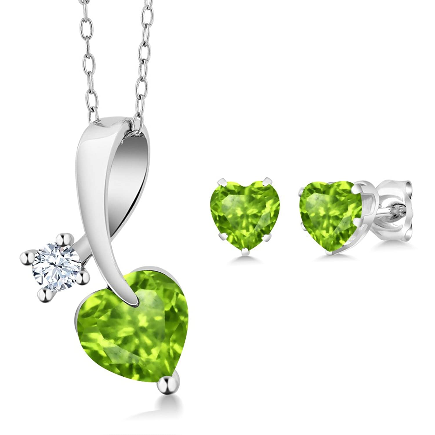 2.31 Ct Heart Shape Green Peridot 925 Sterling Silver Pendant Earrings Set with 18 Inch Silver Chain