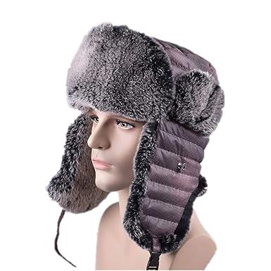 b7f5309b76 Amazon.com  Bomber Hats Fur Ear-Flap Men s Winter Snow Russian Panama Aviator  Hat  Clothing