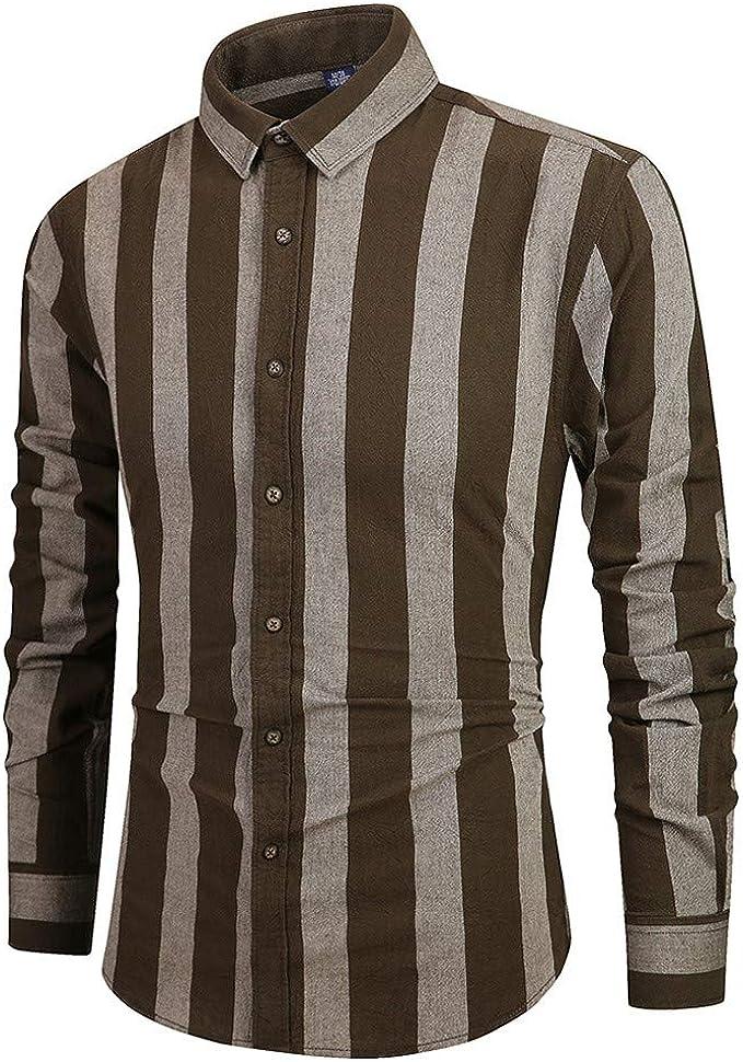 Camisas Hombres, Camisa de A Rayas, Camisa Deporte para Hombre Camisa de Manga Larga con Botones de Manga Larga para Hombres Camisa de Blusa Superior Informal Camisas: Amazon.es: Ropa y accesorios
