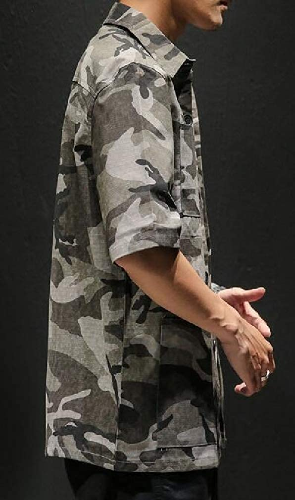 Sweatwater Mens Casual Button Front Short Sleeve Camouflage Multi Pockets Shirts